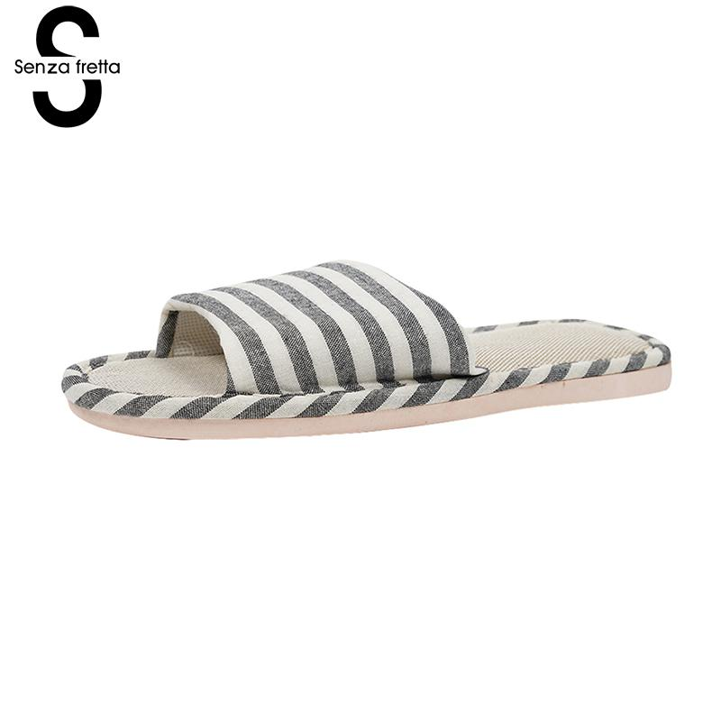senza fretta Men shoes Non-slip Indoor soft Slippers Linen Stripe Women Men Slippers  Indoor Bedroom slippers Couple Floor Shoes senza fretta men shoes home linen slippers couple flat slippers hemp simple breathable soft floor slippers men slippers big size