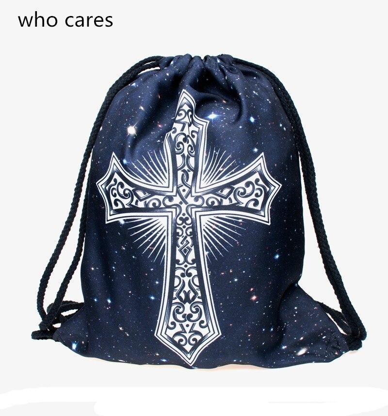 Who Cares Hot New 3D Printing Backpack Women Galaxy Cross Drawstring Bag Fashion Casual Mochila Feminina Girl