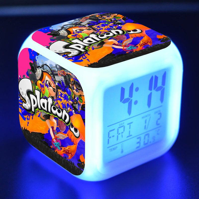Splatoon Anime Figure LED Alarm Clock Flash Color Changing Touch Light Japan Game Figma  ...