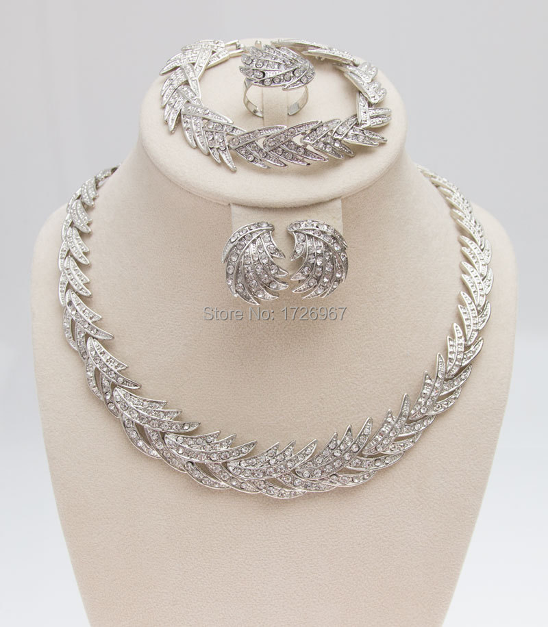 Silver Leaves Clear Crystal Jewelry 3