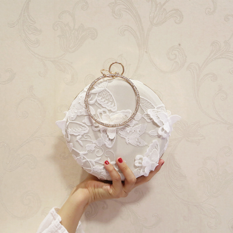 Unique Round Oblique Banquet Bag with Graceful Lace, Elegant Messenger Bags Embroidered with The Shape of Active Butterfly