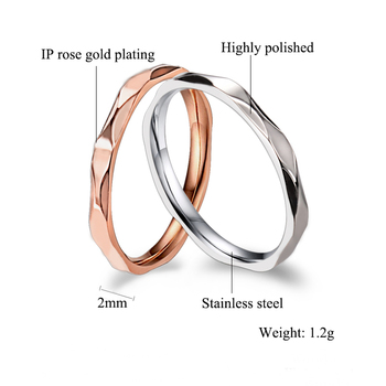 Small Ring for Women and Men Silver/Rose Gold Color Stainless Steel Wedding Ring 2mm Width Exquisite Ring 5