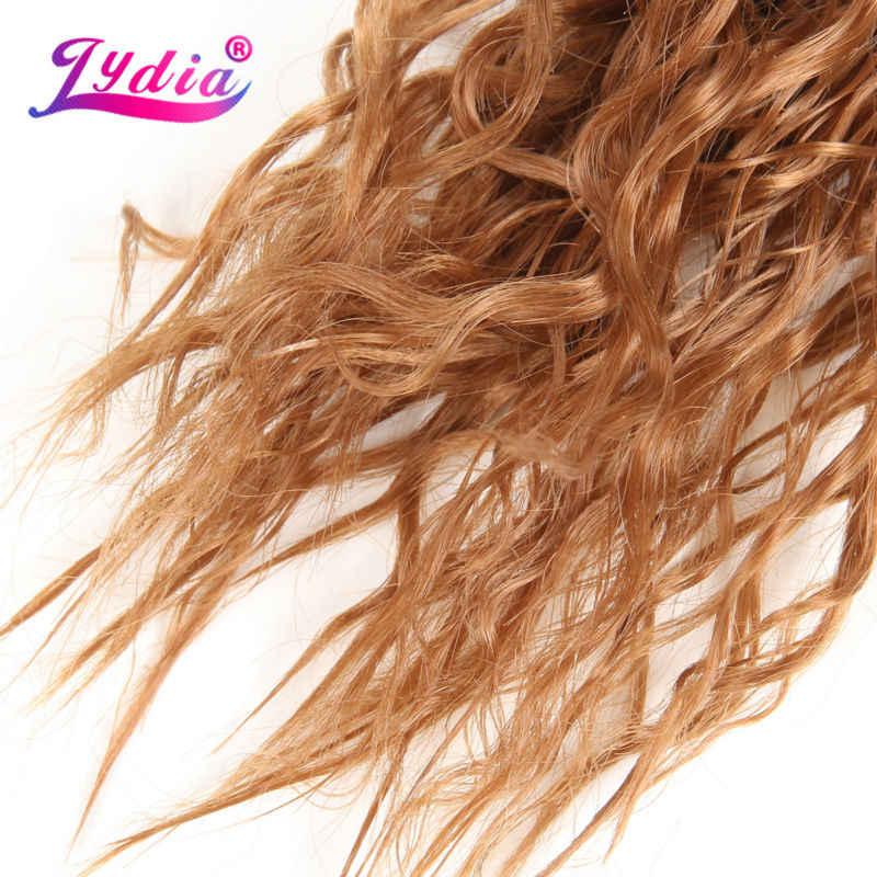 """Лидия для черный Для женщин синтетический фигурные переплетения 3packs/lot 20 """"природа Цвет коричневый вода волна Волосы Связки джерри curl Химическое наращивание волос"""