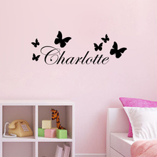 New Custom Any Name Butterfly Art Wall Decal Vinyl Wall Sticker Free Shipping Kids Room Art Decorative Wall Mural Size 60x20cm