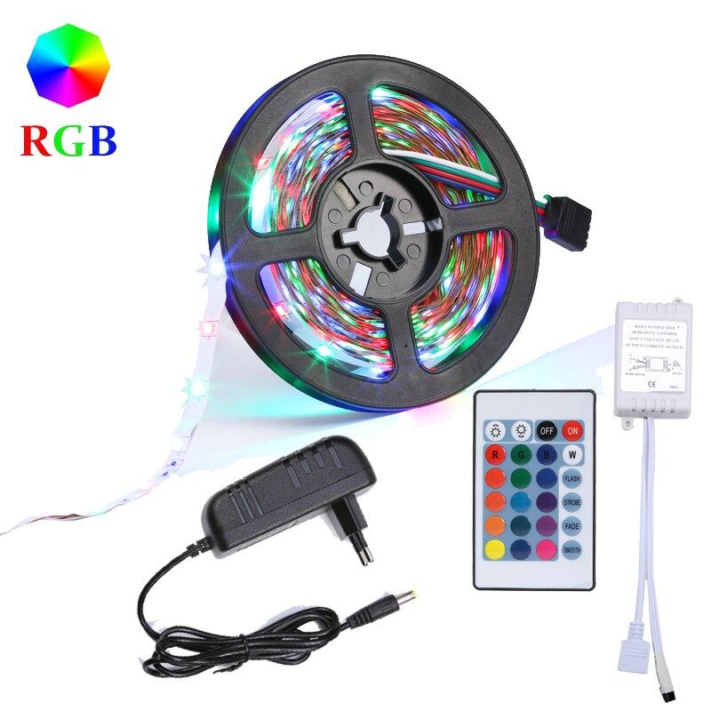 5M DIY 2835 SMD RGB LED Strip Lights 24Key IR Remote Controller Power Supply