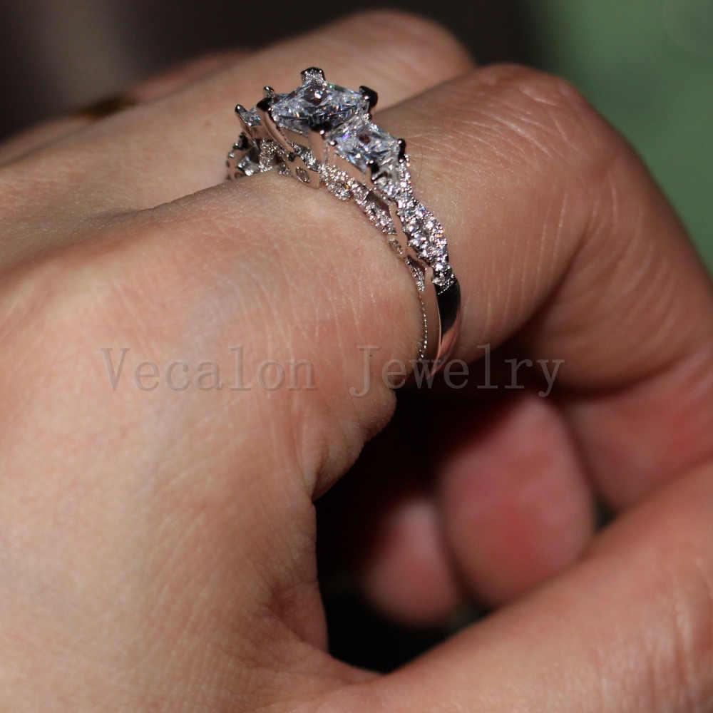 Vecalon романтическое винтажное женское кольцо из трех камней фианит AAAAA 925 Серебряное обручальное кольцо для женщин