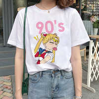 Kawaii Sailor Moon T Shirt Frauen Harajuku Ullzang Cartoon T-shirt 90s Nette Gedruckt T-shirt Grunge Koreanische Stil Top Tees weibliche
