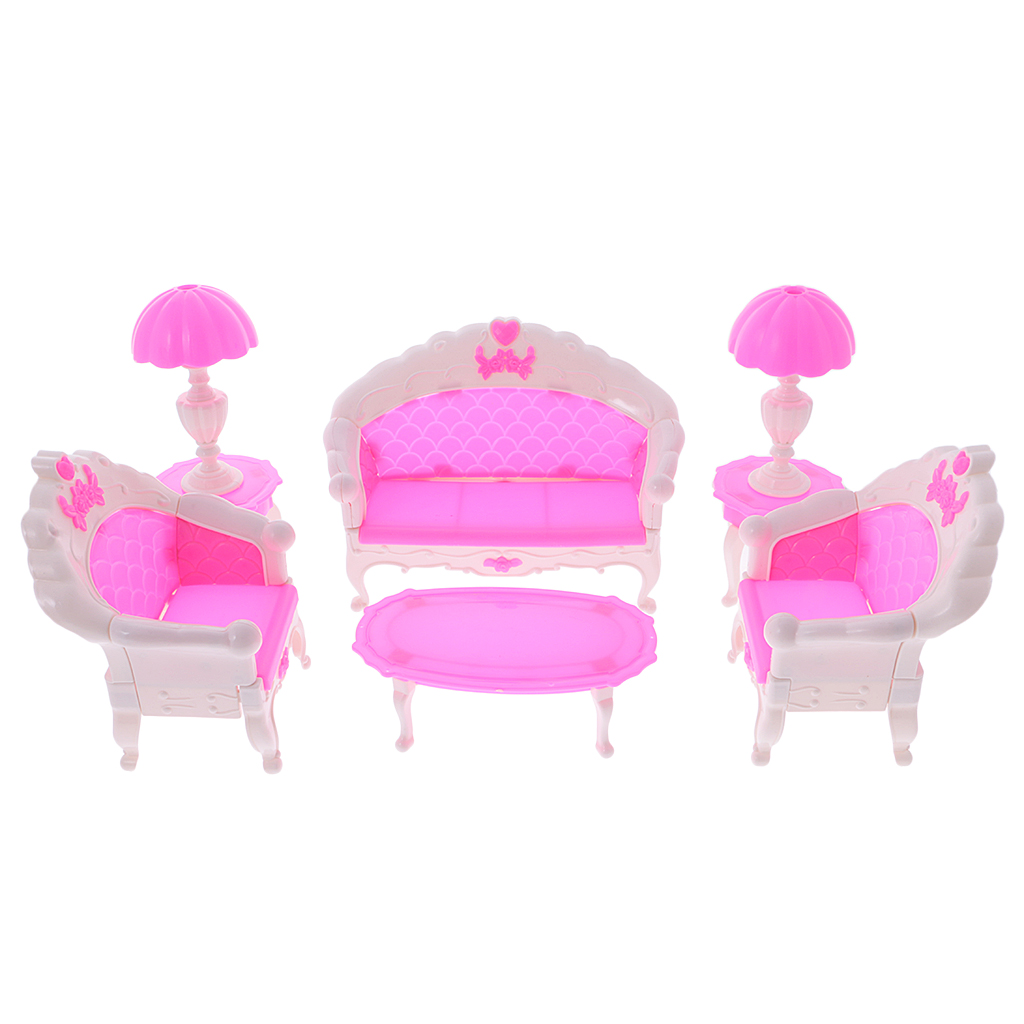 1/6 Scale Doll House 6Pcs 1:6 Dollhouse Miniature Furniture Set Sofa Chair Lamp Tea Table for Barbie Decor Classic Kids Toy Gift