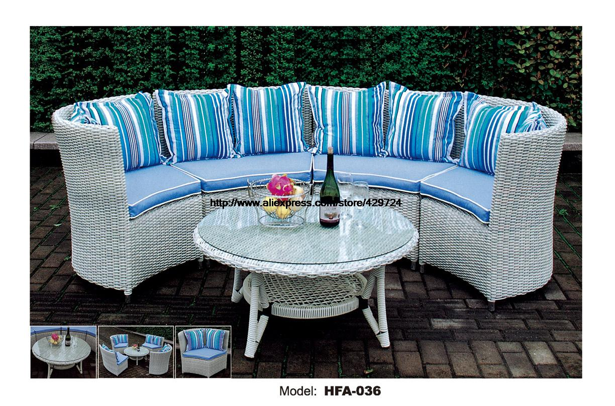 Modern Half Round Sectional Rattan Sofa Set Coffee Table Outdoor White Furntiure Include Cushions Garden Health Rattan Sofa white rattan sofa purple cushions garden outdoor patio sofa rattan furniture swing pool table chair rattan sofa set