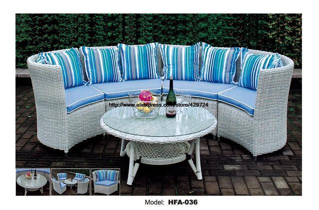 Moderne Halb Runder Sectional Rattan Sofa Set Couchtisch Im Freien