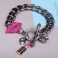 Lip crown lipstick Steampunk Hiphop Bracelet Cuffs Brand Designer Jewelry Women Chain Bracelets Charm Bracciali Donna/Bijouterie
