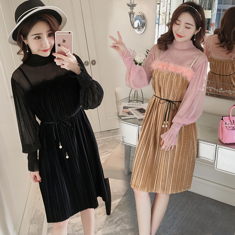 9188 2018 new spring maternity velvet crimped skirt bottom two-piece set with Belt