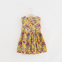 New Summer Princess Dress Baby Costume Kids Dresses For Girls Floral Cotton Sleeveless Dresses For Party Vestido Infantil T