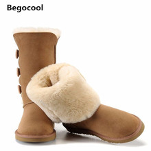 2016 Classic Women Snow Boots Short Leather Winter Shoes Boot with Black Chestnut Gray UG Women's Fur Snow Boots Size US 4-13