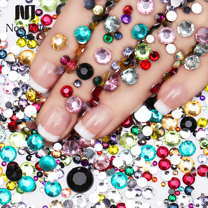 1 Bag 3D Nail Art Rhinestones Colorful Mixed Size Manicure Round Flat Bottom Shiny Nail Stones Clear Nail Art Decoration