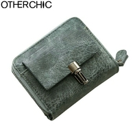 OTHERCHIC Nubuck Leather Women Fashion Short Wallets Small Soft Wallet Coin Pocket Wallet Female Card Wallet