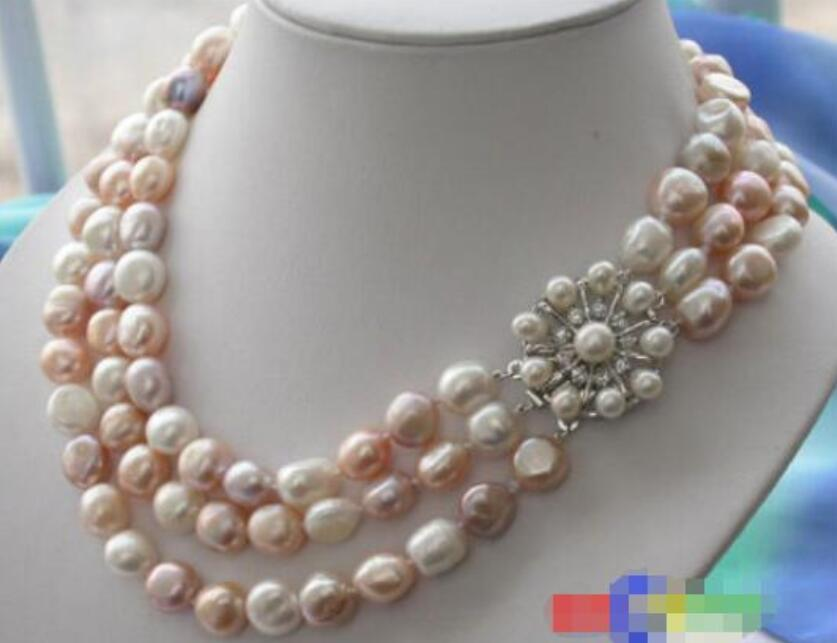 Hot sale new Style >>>>>3ROW 10 12MM multi color BAROQUE FRESHWATER CULTURED PEARL NECKLACE