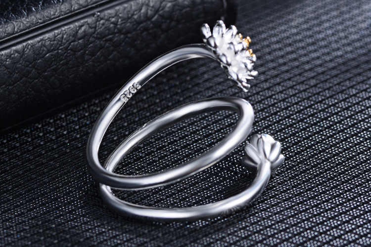 2017 جديد وصول الساخن بيع الأزياء اللوتس زهرة الإناث 925 الفضة الاسترليني ladies'finger خواتم حزب مجوهرات هدية للمرأة