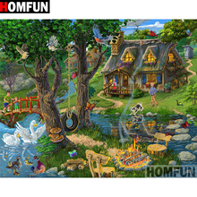 HOMFUN 5D DIY Diamond Painting Full Square/Round Drill Country scenery Embroidery Cross Stitch gift Home Decor Gift A09356