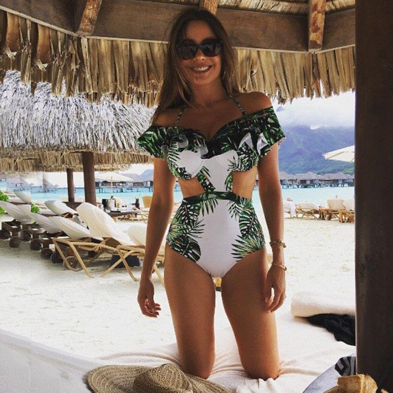 FIGOBELL New <font><b>2018</b></font> <font><b>Sexy</b></font> Off the Shoulder <font><b>Swimwear</b></font> <font><b>Green</b></font> Leaf Print <font><b>Women</b></font> <font><b>One</b></font> <font><b>Piece</b></font> <font><b>Swimsuit</b></font> Female Bathing Suit Ruffle Swim Wear image