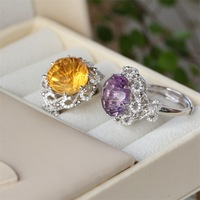 Semi Precious Stones Deluxe Color Treasure RING 925 Silver Gold Natural Amethyst Crystal Ring Sterling Silver