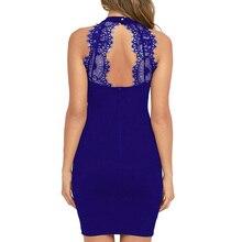 Elegant Women Mini Dress Sexy Halter Neck Sleeveless Alluring Back Nightclub Black Lace Dresses