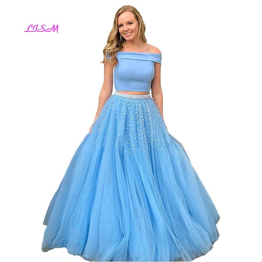 Two Piece Long   Prom     Dress   Off Shoulder Princess   Dresses   for   Prom   for Girls Pearls Sky Blue Sleeveless Tulle Evening Party Gowns