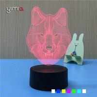 Wilk 3D Wizualne YIMIA 7 Kolor Akrylowe DOPROWADZIŁY Światło Nocne Oświetlenie Sypialni Lampa Stołowa Lampa Atmosfera Dziecko Śpiące Nightlight USB