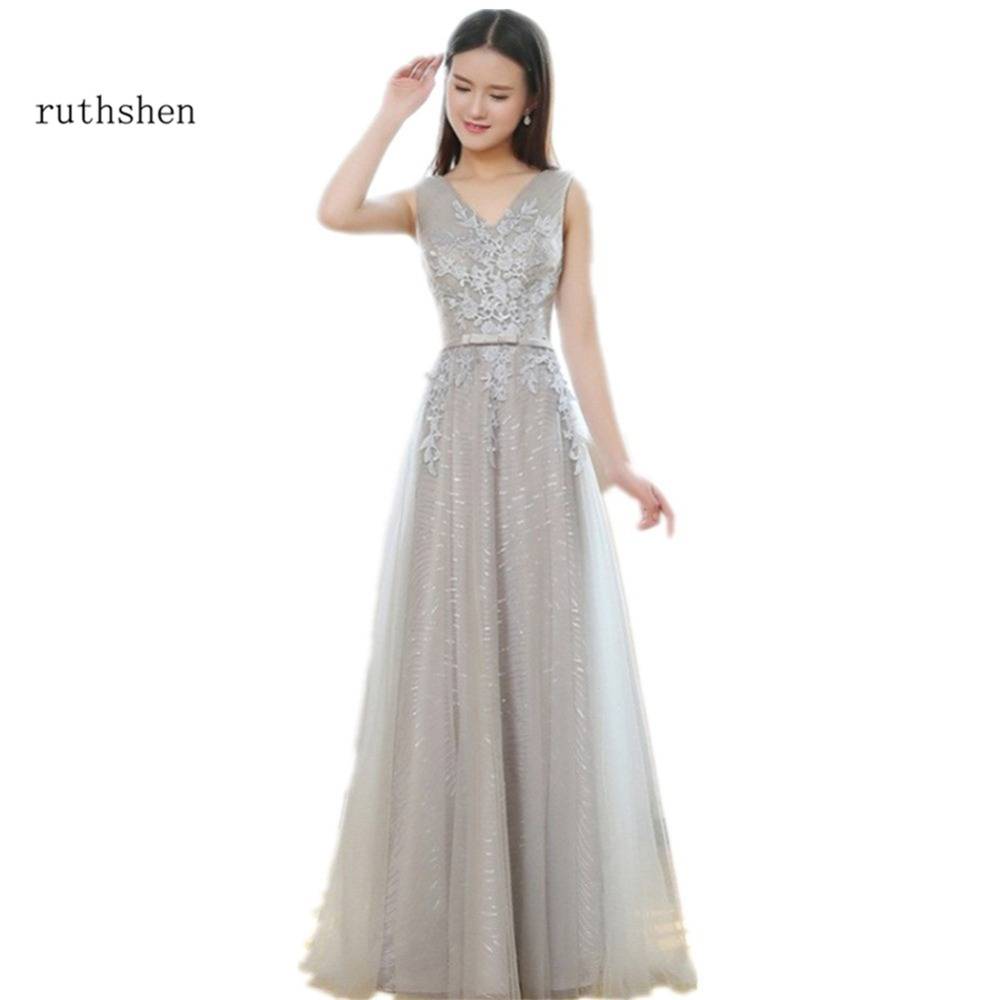 ruthshen Gray Prom Dresses Long V-Neck Appliques Lace Vestidos ...