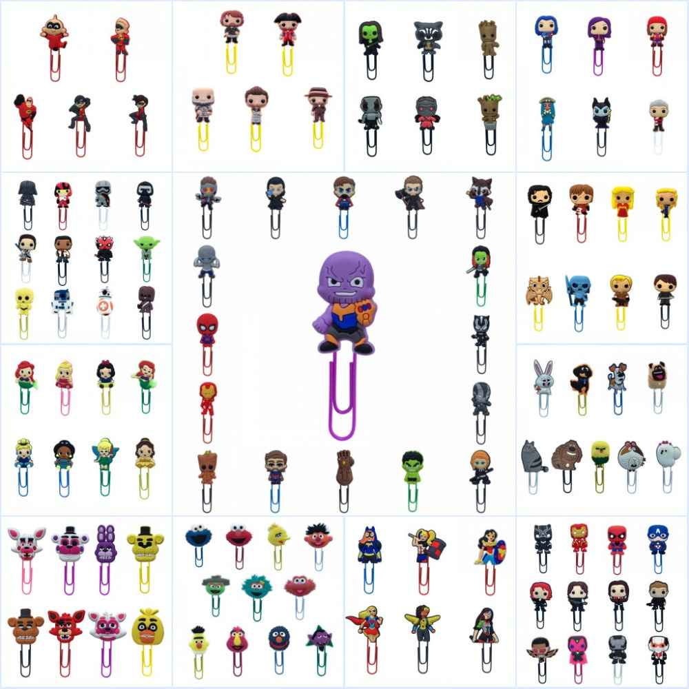 100pcs/lot Avengers Groot Incredibles Action Figure Bookmarks Cartoon Paper Clip For School Teacher Office Supplies Kids Gift