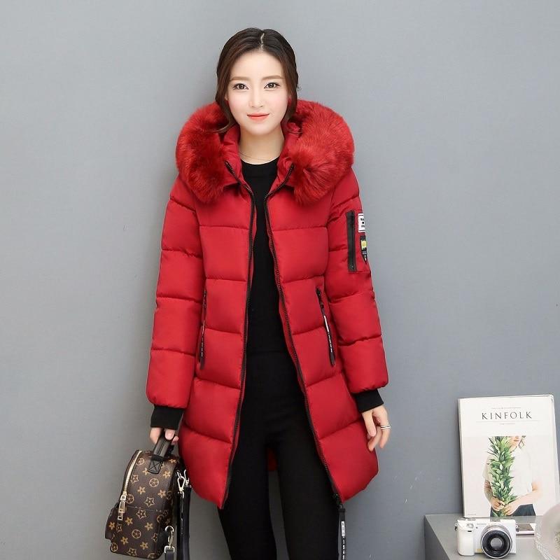 Parka Women Winter Coats Long Cotton Casual Fur Hooded Jackets Women Thick Warm Winter Parkas Female Overcoat Coat 2019 MLD1268