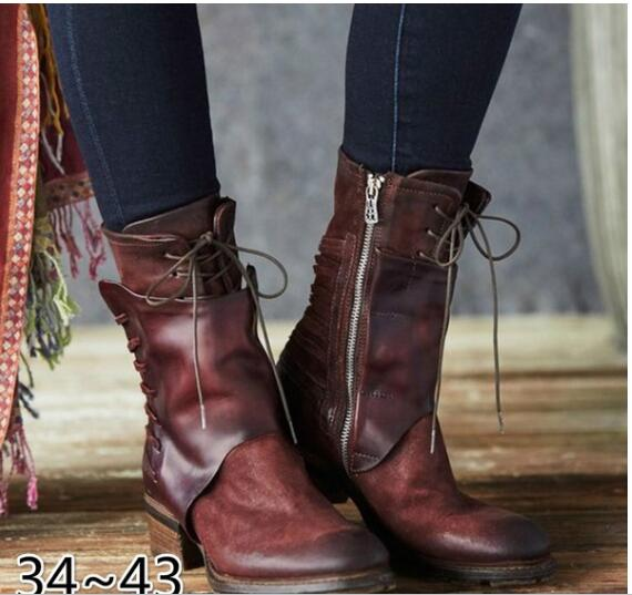 Fashion Shoes Women Eur Style Girl Shoes Mid Calf boots Leather Shoes DB051