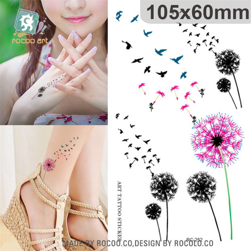 Harajuku Waterproof Temporary Tattoos For Women Lady Dandelion Aerial Bird Design Flash Tattoo Sticker Free Shipping RC2252