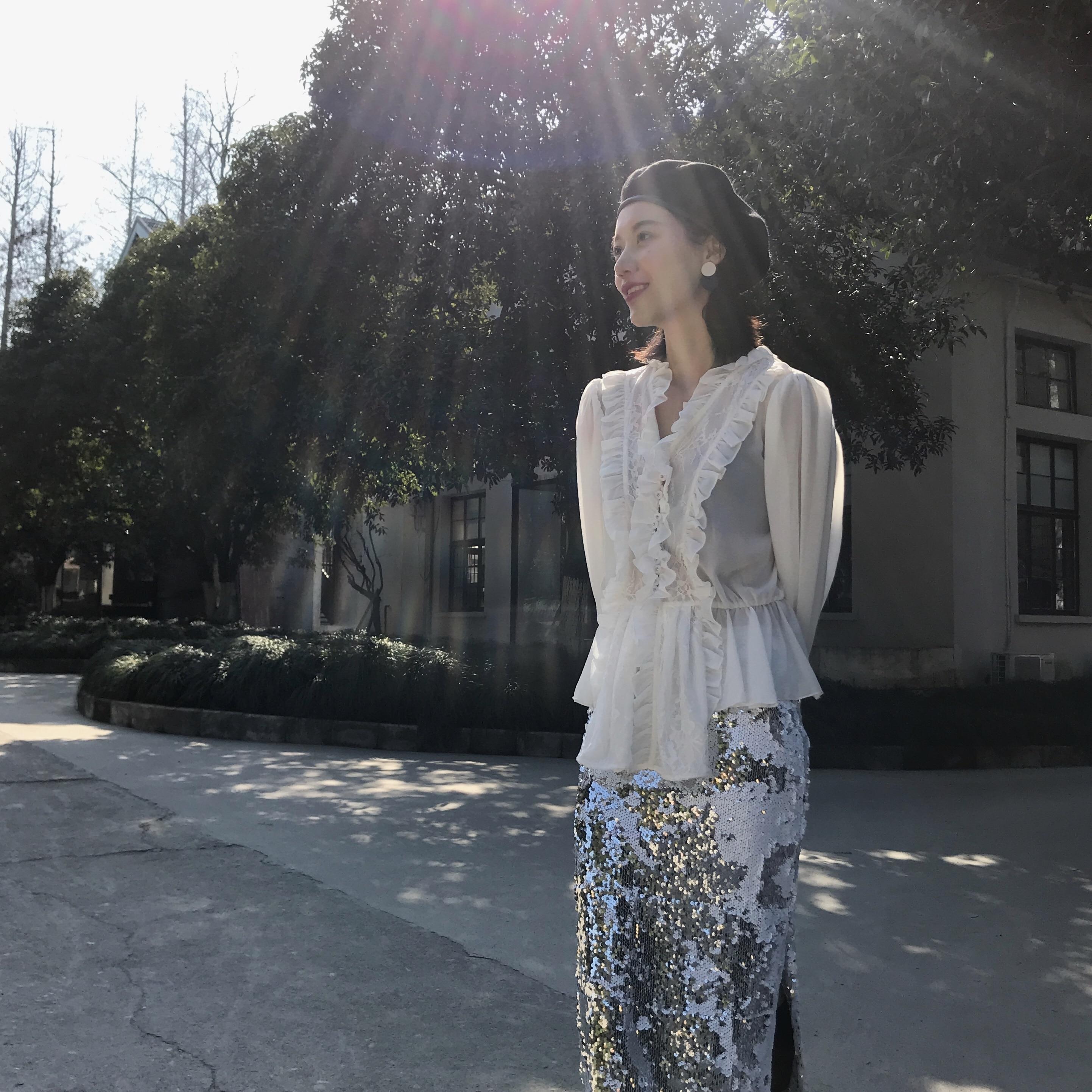 Frauen sommer hohl out Shirts Fance stil mit langen ärmeln elegante spitze Hemd Tops A292 - 4