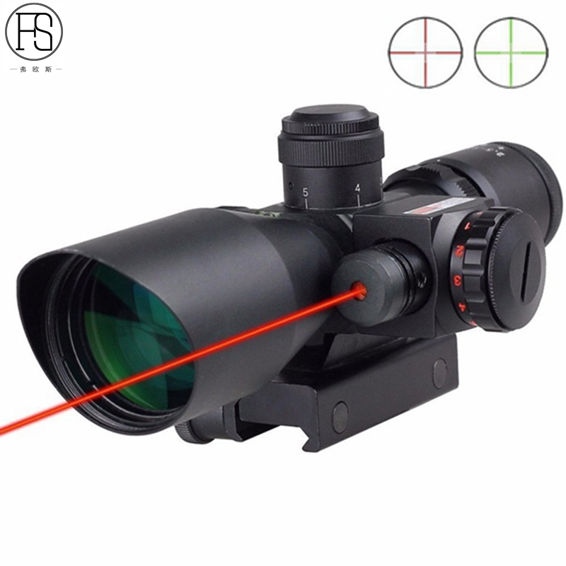 Tactical 2.5-10x40 R/G illuminated Optics Rifle Scope Sight+Red Laser Sight For Rifle Sight 2 5 10x40 e r tactical rifle scope with red laser