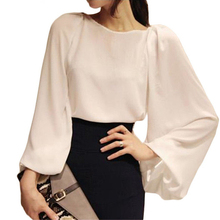 2017 Summer Autumn loose Chiffon Long Puff Sleeve Women Blouse Shirt Tops Blusas OL Officewear Work Wear White