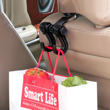 1PC 360 Degree Rotating Hooks Car Seat Back Hook Double For Grocery Purse Cloth Automobile Holder Accessories