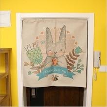 XIAOKENAI Hello Rabbit Cotton Linen Curtain Fabric Cartoon Bedroom Childrens Room Decorative Doorway Cute Animals Deco