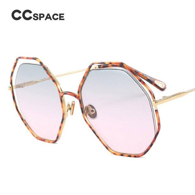6b33af6fec CCSPACE Metal Leopard Frame Polygon Sunglasses Men Women Octagon Brand  Glasses Designer Fashion Male Female Shades