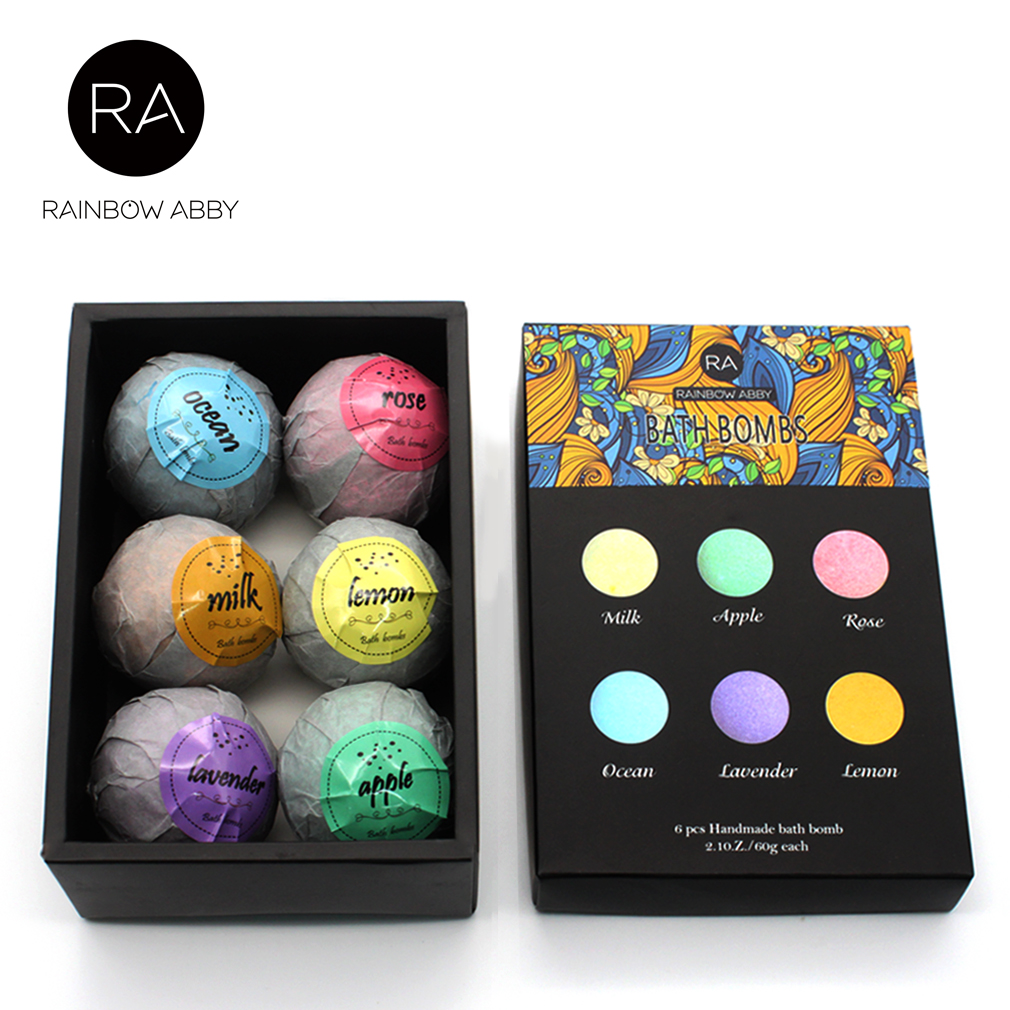 60g*6Spa Skin Care Organic Bath Bombs Bubble Bath Salts Ball Essential Oil Handmade SPA Stress Relief Exfoliating Bath Salts