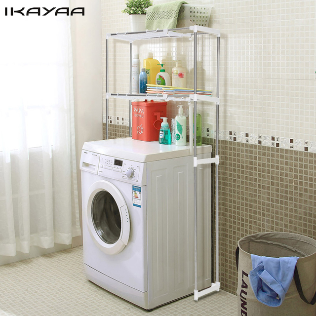 IKayaa US Stock Steel 2 Layer Metal Bathroom Space Saver Over Toilet Width  Extendable Bath