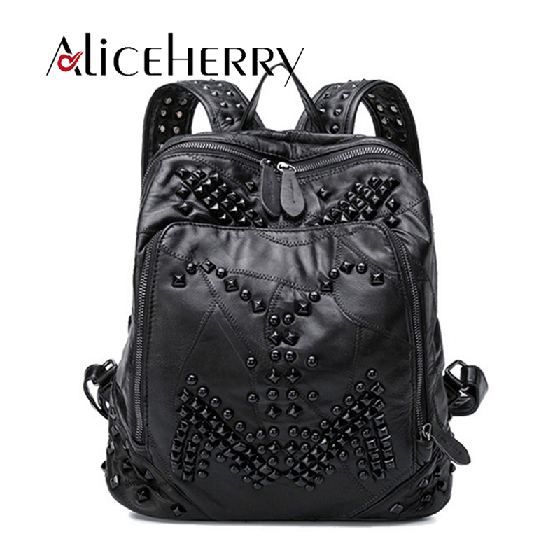 Fashion Women genuine leather backpack rivet lady real leather vintage black backpack girl Sheepskin leather schoolbag black faux leather pebbled backpack page 2