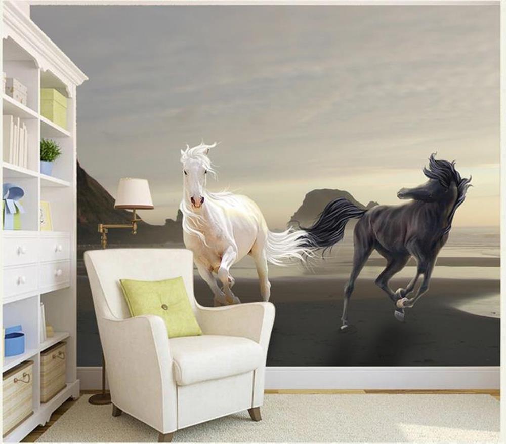 3D wallpaper/benutzerdefinierte fotowand papier/meer Schwarz weiß double  horse/wandbild/TV