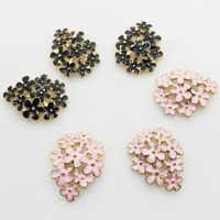 NEW10pcs/lot 28*21MM Two Color Metal Flower Rhinestone   Jewelry     Findings   Accessories   Components   for   Jewelry   Making DIY Decoration