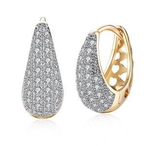 Fashion Gold Color Hoop Earrings AAA Cubic Zircon Earrings for Women Wedding Engagement Party Jewelry Gift KZCE140-E