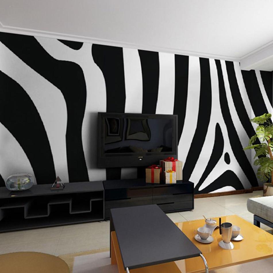 Black White Art Zebra 3D Room Animal Custom Photo Natural Wallpaper ...