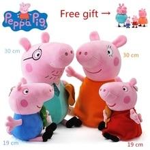 Подлинный розовый поросенок плюшевые игрушки высокое качество Свинка Пеппа Джордж Семья Плюшевые игрушки для детей подвеска на Рюкзак Рождественский подарок