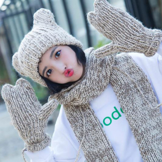 5284939e496 2018 Cute 3pcs Winter Hats Scarf Gloves For Women Girl Thick Cotton Winter  Warm knit Accessories Set Female Beanie Scarf Gloves
