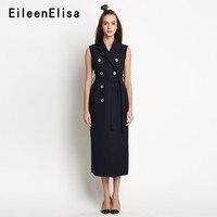 Notch Neck двубортное платье Блейзер Для женщин летние без рукавов спецодежды