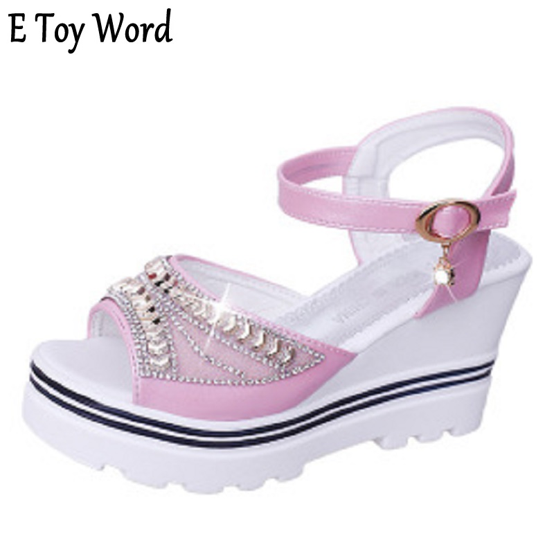 E toy word 2018 new wedge sandals female high-heeled shoe buckle summer fish mouth with flat bottom thick waterproof thick soled